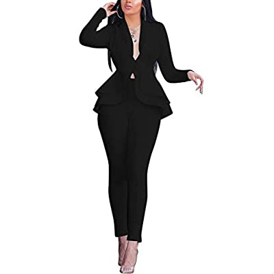 OLUOLIN Women's Elegant 2 Piece Blazer Suit Deep V Neck Ruffle Top Bodycon Long Pant Set with Belt: Clothing