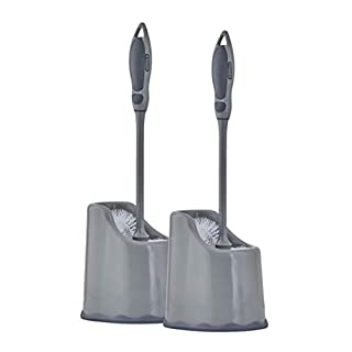 Superio Toilet Brush and Holder (2 Pack) Toilet Bowl Cleaner Brush with Scrubbing Wand, Under Rim Lip Brush and Storage Caddy for Easy Bathroom Cleaning (Grey)