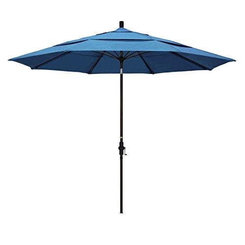 California Umbrella 11' Round Aluminum Pole Fiberglass Rib Market Umbrella, Crank Lift, Collar Tilt, Bronze Pole, Pacifica Capri (Tilt Umbrella Collar Patio)