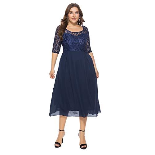 Toimothcn Women Plus Size Floral Lace Dress Vintage Half Sleevec Cocktail Formal Swing Dress Oversized(Navy,XXXXXXL)