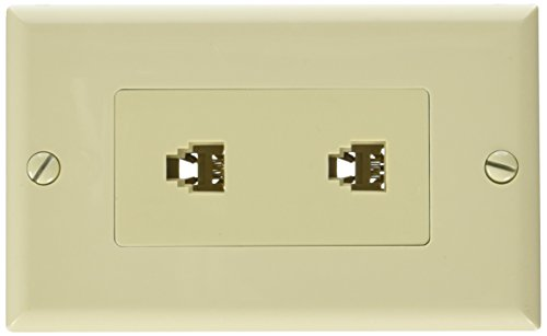 Morris 80170 Decorative Dual RJ11 4 Conductor Phone Jack Wall Plate, 2 Piece, Ivory