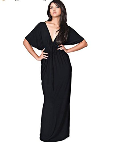 Maxi Women's Backless Deep Dress Vintage Black V Halter Neck Evalent Color Gradient Beach Sleeveless 4SqnTPwwp