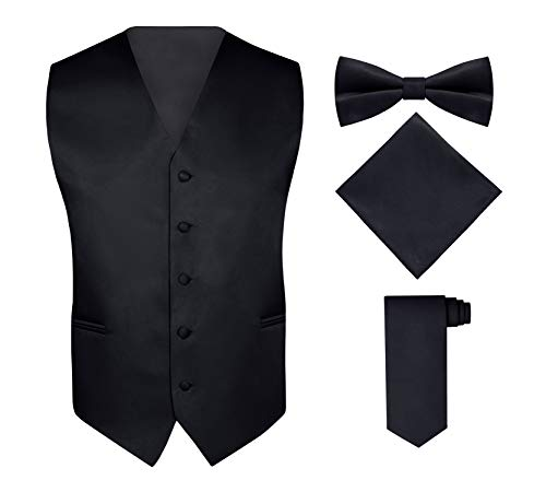 Black Vest Set - S.H. Churchill & Co. Men's 4 Piece Vest Set, with Bow Tie, Neck Tie & Pocket Hankie - Black, M