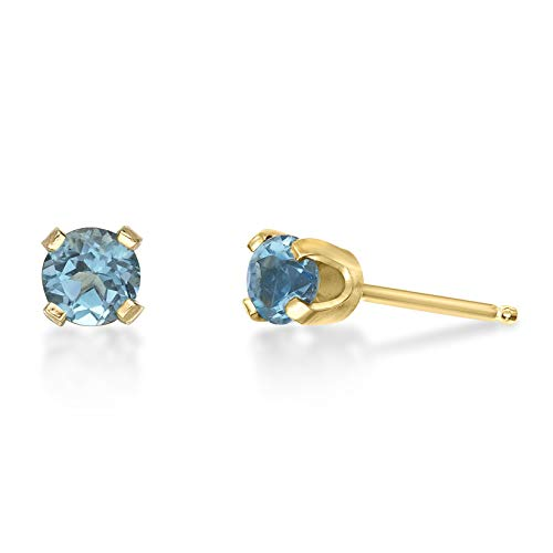 - .60 CT Round 4MM Blue Topaz 14K Yellow Gold Women Stud Birthstone Earrings