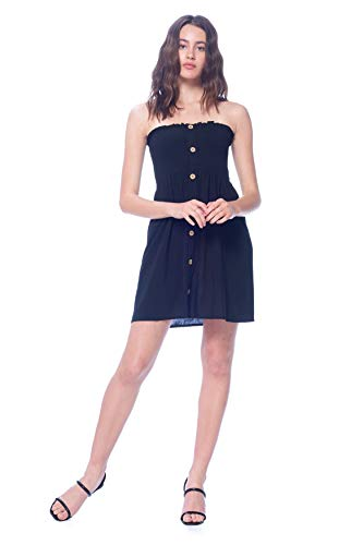 Khanomak Women's Rayon Mini Tube Button Smocked Ruched Sleeveless Dress (Black,Large)