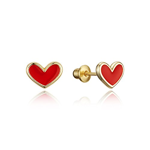 14k Gold Plated Enamel Red Heart Baby Girls Screwback Earrings with Sterling Silver Post