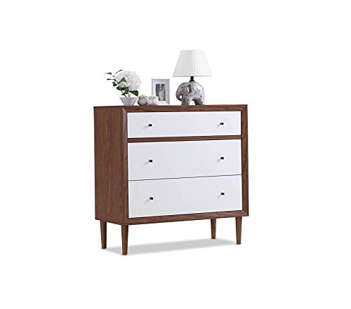 Furniture Baxton Furniture Studios Harlow Mid-Century Wood 3 Drawer Chest Medium White and Walnut Premium Office Home Durable Strong