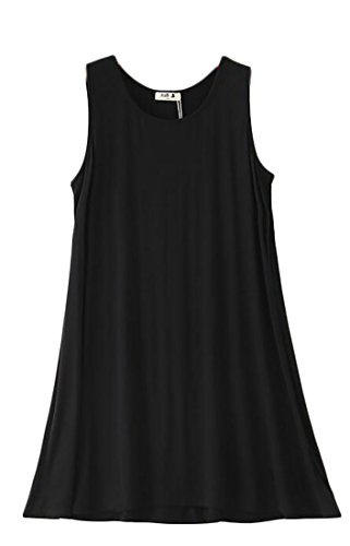 Tunic A Neck Basic Dress Pleated Line Sleeveless Womens Round Cromoncent Black Mini RaqOwO