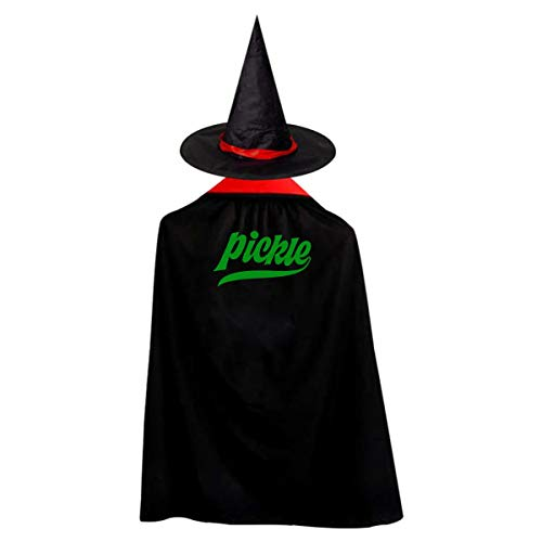 Halloween Children Costume Pickle Sour Food Wizard Witch Cloak Cape Robe And Hat Set]()