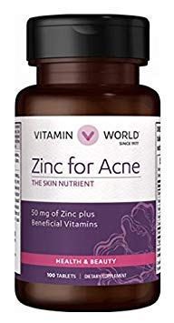 Zinc For Acne The Skin Nutrient 50mg of Zinc plus Beneficial Vitamins 100 tablets