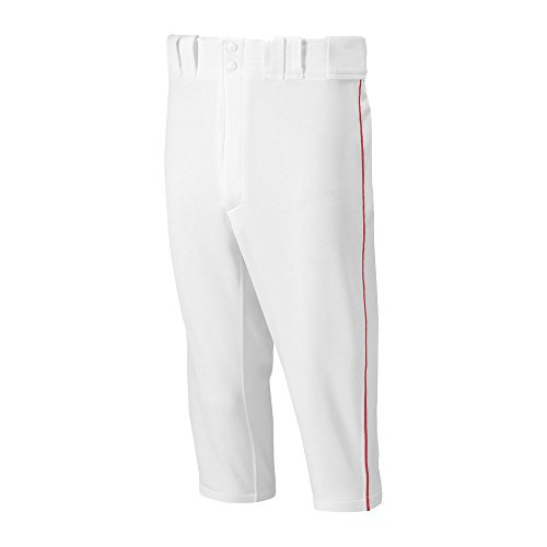 Mizuno Youth Premier Short Piped Pants, White/Red, (Select Piped Pant)
