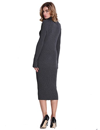 Gray Sleeve Slim Ribbed Dress Women Long Knit Maxi Turtleneck PrettyGuide Fit Sweater xqw76WBBTP