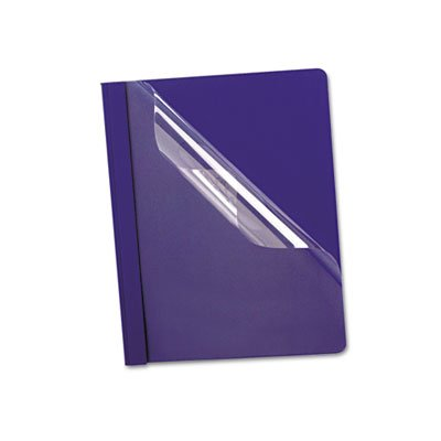 Oxford 58802 Premium Paper Clear Front Cover, 3 Fasteners, Letter, Blue, 25/Box