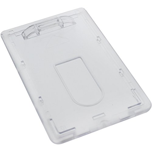 Slim Heavy Duty Badge Holders - Hard Plastic Clear Polycarbonate (Holds 1 Card) - Rigid Top Load Single Card Case - Vertical with Easy Access Thumb Slide Hole and UV Protection by Specialist ID (Vertical Holder Badge Load Top)