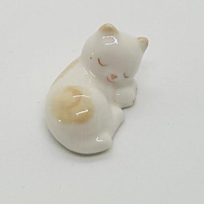 Mini White Lazy Cat Handcraft Painting Animal Figurine Ceramic Handmade Gift New