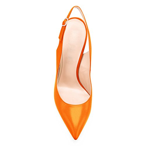 Sexy Metal Women's B Court Shoes Pointed orange Stiletto Bowknot Onlymaker High Toe Heels nZIHZxT