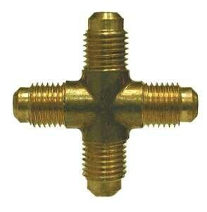 0.44 Body Size 1//4 UNF Thread 0.44 Body Size Midland Metal Mfg. Midland 10-373 Brass SAE 45 Degree Forged Flare Cross Fitting 1//4 UNF Thread