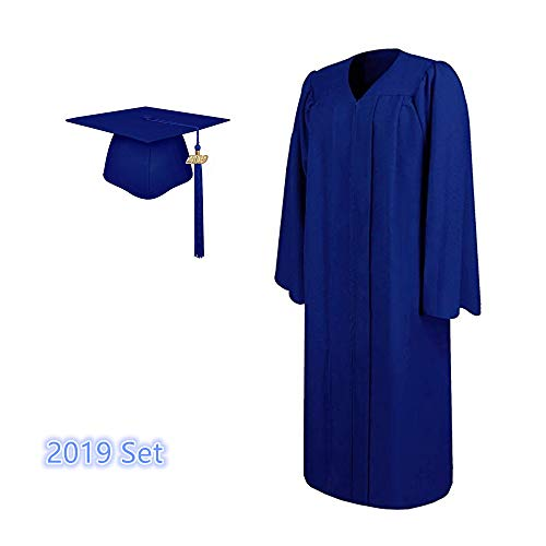 - 2019 Matte Adult Graduation Gown Cap Tassel Set (Royal Blue, 51''[5'6''-5'8''])