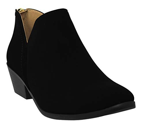 MVE Shoes Cute Western Cowboy Bootie - Womens Pointed Toe Slip On Ankle Boot -Back Zip up Low Heel Black NB 9