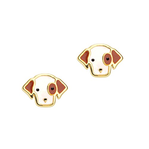 Girl Nation Cuties Collection Enamel Perky Puppy Post Earrings ()