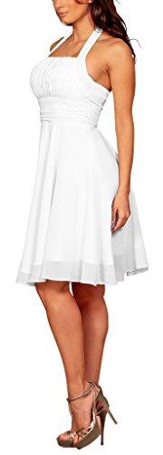 My Evening Dress - Elegante vestido corto de cóctel de gasa y cuello halter vestido formal ideal para damas de honor blanco