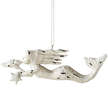 Midwest-CBK White Distressed Hand Carved Look Mermaid with Conch Shell and Sea Star Ornament