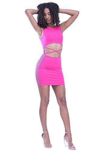 Criss Cross Trim Dress (edgelook Crisscross Cutout Front Racer Check Trim Sides Sleeveless Mini Dress)