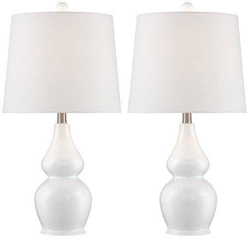 Jane White Ceramic Double Gourd Table Lamp Set of 2 White Ceramic Lamps