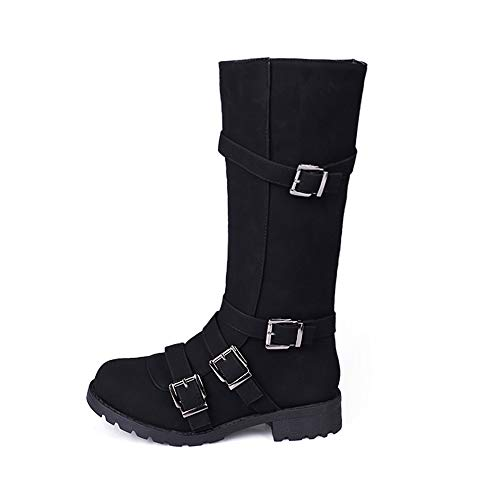 COPPEN Women Boots Knee High Buckle Winter Roman Motorcycle Long Shoes ()