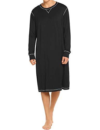 708bd9cda84 Ekouaer Sleepwear Men s Nightshirt Long Sleeve Cotton Pajamas Comfy Loose  Long Sleep Shirt S-XXL