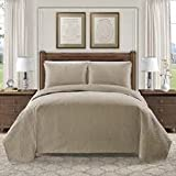 Hotel Luxury Reserve Collection 3 Piece Embroidered Quilt Set (King, Taupe)