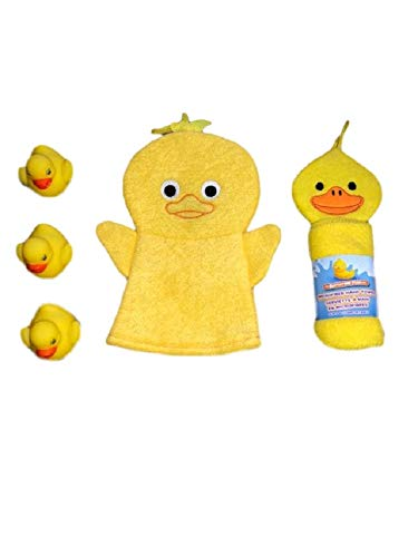 (FESCO Baby Bath Time Fun Bath Time Set Includes 1 Duck Bath Puppet Washcloth, 1 Microfiber Hand Towel, 1 Pack of 3 Rubber Ducky Bath)