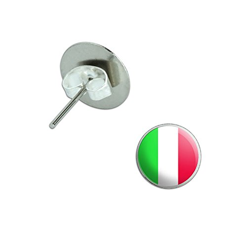 (Italy Italian Flag Novelty Silver Plated Stud Earrings)