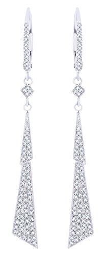 Rount Cut White Natural Diamond Jagged-Bolt-Stiletto Dangle Earring in 14K White Gold (0.37 Cttw)