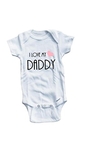Baby Tee Time Baby Girls' Pink Heart I Love My Daddy One piece 0-3 Months White