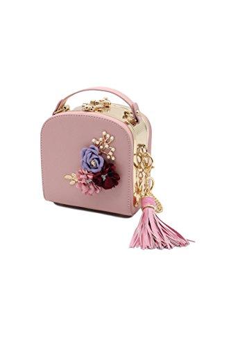 ZEN - Women 3D Flower Handbag Purse Heart Clasp Shoulder bag With Tassel (Pink) -