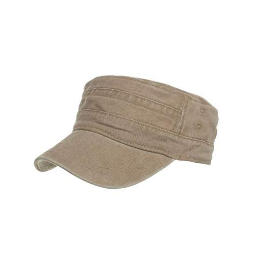 Bsjmlxg Unisex Washed Cotton Military Hats Cadet Caps Vintage Flat Top Cap Unique Design for Fishing Beach Golf Party Khaki ()