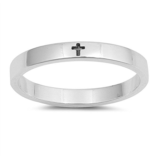 Simple Little Engraved Cross Stackable Ring .925 Sterling Silver Band Size 4 (Silver Ring Sterling Cross)