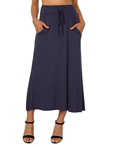 DJT Women's High Waist Flared Skirt Pleated Midi Skirt with Pocket XX-Large (Rayon Drawstring)