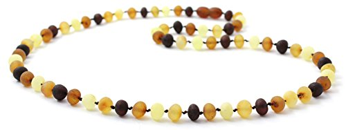 Raw Baltic Amber Necklace - Adult Size (Women and Men) - 19.5 inches (50 cm) - Unpolished Amber Beads - BoutiqueAmber (19.5 inches, Multicolor)