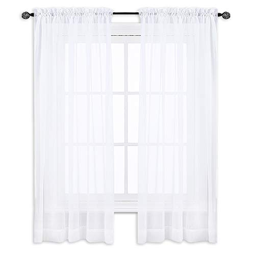 w Panel Curtains - Rod Pocket Window Treatment Curtain Sheer Voile Panel for Bedroom Window (Set of 2, W60 x L45, White) ()