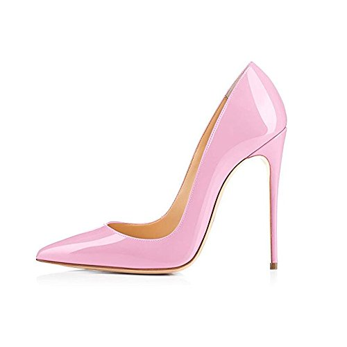 (GENSHUO Women Fashion Pointed Toe High Heel Pumps Sexy Slip On Stiletto Dress Shoes 12cm-PK-6 Pink)