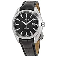 Omega Aqua Terra Black Dial Black Leather Ladies Watch