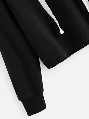 Manches Imprim Courte Femme Longues AIMEE7 Blouse Noir Shirt Mode Capuche Sweat Tee Chic qagn4ZB