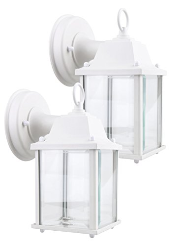 (LIT-PaTH Small Outdoor LED Wall Lantern, Wall Sconce as Porch Light, 9.5W (75W Equivalent), 800 Lumen, Aluminum Housing Plus Glass, Matte White Finish, ETL and ES Qualified, 2-Pack)