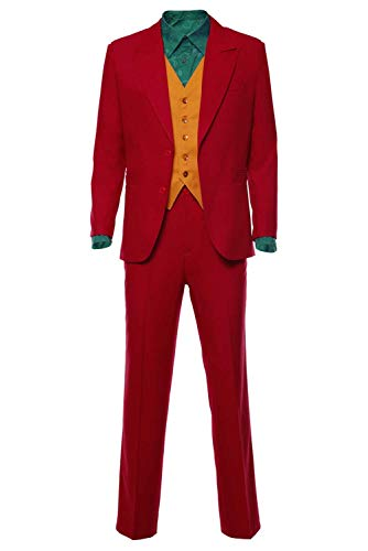 Best Male Halloween Costumes Of 2019 (Sinastar Joker 2019 Costume Suit Halloween Cosplay Retro Red Long Sleeve Shirts Outfit for Men)
