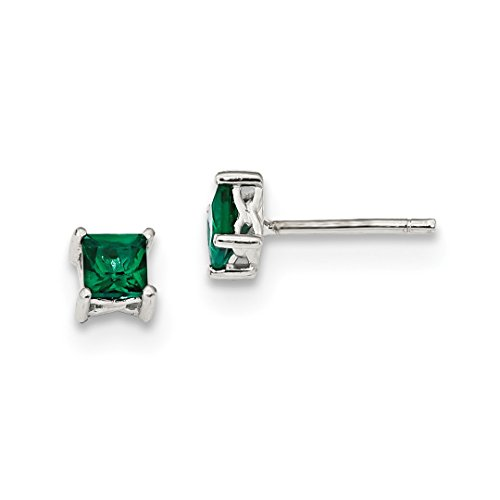 Emerald Earing Stud - 925 Sterling Silver 4mm Princess Created Green Emerald Post Stud Earrings Birthstone May Prong Fine Jewelry For Women Gift Set