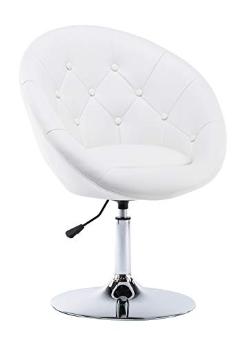 Round Swivel Accent Lounge Chair, with Tufted Back, White