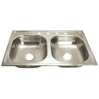 PROPLUS GIDDS-2474254 4-Hole Double Bowl Kitchen Sink for Mobile Homes, 24-Gauge, Stainless Steel, 33 x 19 x 6 by ProPlus