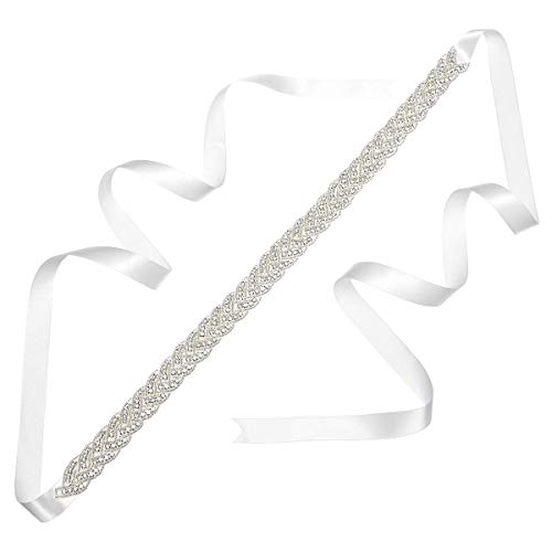 Remedios Rhinestone Bridal Belt Bridesmaid Sash Crystal Wedding Belt Women Dress Accessories, White ()